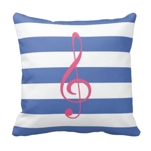 Custom Rugby Striped Treble Clef Throw Pillow for Teens and Kids - Music Themed Bedding and Room Decor for Boys and Girls - White, Bubble Gum Pink, Periwinkle Blue