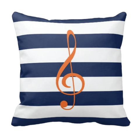 Custom Rugby Striped Treble Clef Throw Pillow for Teens and Kids - Music Themed Bedding and Room Decor for Boys and Girls - White, Carrot Orange, Navy Blue
