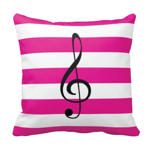 Custom Rugby Striped Treble Clef Throw Pillow for Teens and Kids - Music Themed Bedding and Room Decor for Boys and Girls - White, Hot Pink and Black