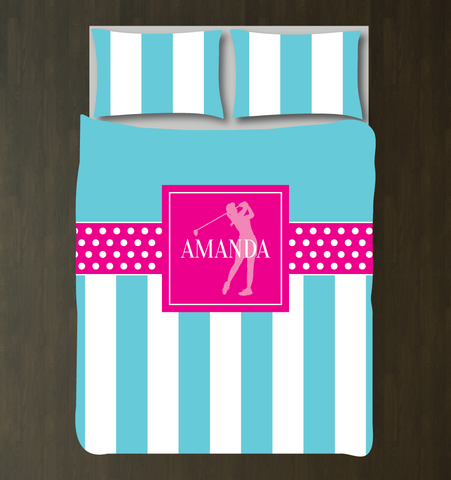 Custom Golf Bedding Set for Girls - Duvet Cover and Shams for Teens - Silhouette of Golfer - Vertical Stripes and Polka Dots - White, Hot Pink, Aqua