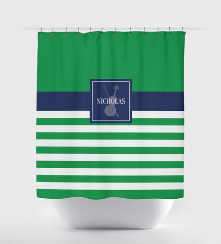 Musical Instrument Shower Curtain - Band - Orchestra Players - Music Themed - Violin - Viola - Stringed - Percussion - Brass - Woodwind - White, Green, Navy Blue