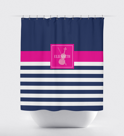 Musical Instrument Shower Curtain - Band - Orchestra Players - Music Themed - Violin - Viola - Stringed - Percussion - Brass - Woodwind - White, Navy Blue, Hot Pink
