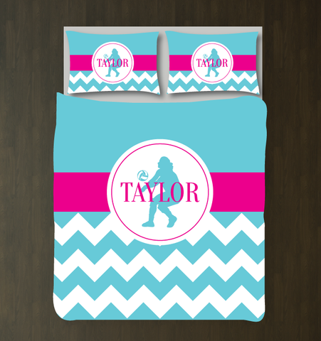 Chevron volleyball player duvet set - Custom bedding for girls - Aqua and Hot Pink