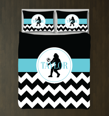 Chevron volleyball player duvet set - Custom bedding for girls - Aqua, Black and White