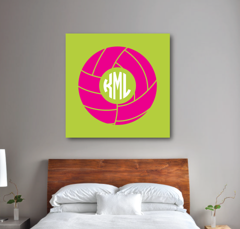 Volleyball Canvas Wall Art - Monogram - Custom Colors - Team Gift - Bright Chartreuse and Hot Pink