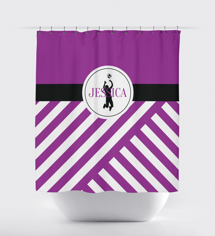 Custom Volleyball Shower Curtain - Sports Gift - Diagonal Stripes - Monogram Name - Purple, Black and White