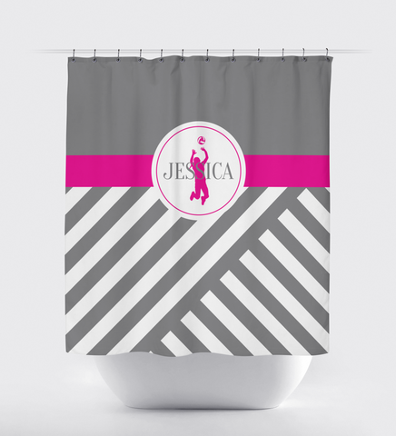 Custom Volleyball Shower Curtain - Sports Gift - Diagonal Stripes - Monogram Name - Grey, White and Hot Pink