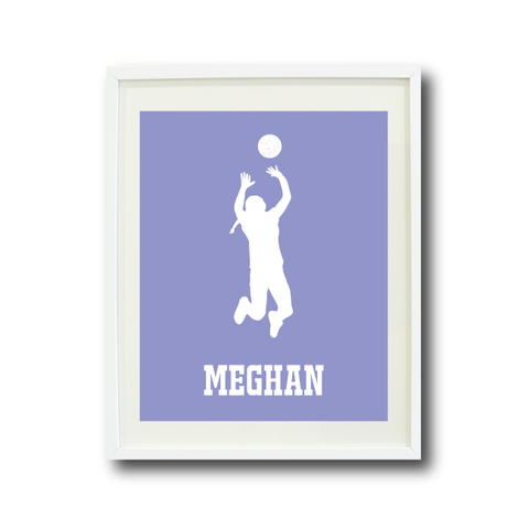 Volleyball Player Silhouette Wall Art Print - Sports Gift for Girls - White and Violet Tulip