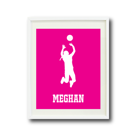 Volleyball Player Silhouette Wall Art Print - Sports Gift for Girls - White and Hot Pink