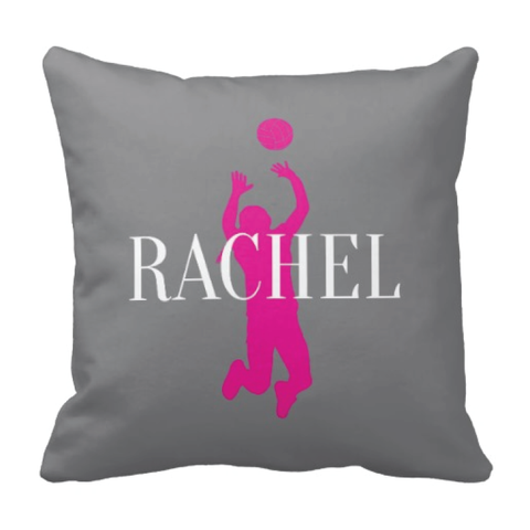 Volleyball Silhouette Throw Pillow - Custom Sports Gift for Girls - Team Present - Grey and Hot Pink
