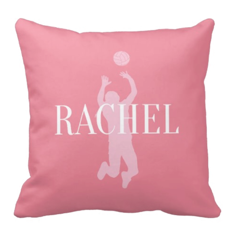 Volleyball Silhouette Throw Pillow - Custom Sports Gift for Girls - Team Present - Light Pink