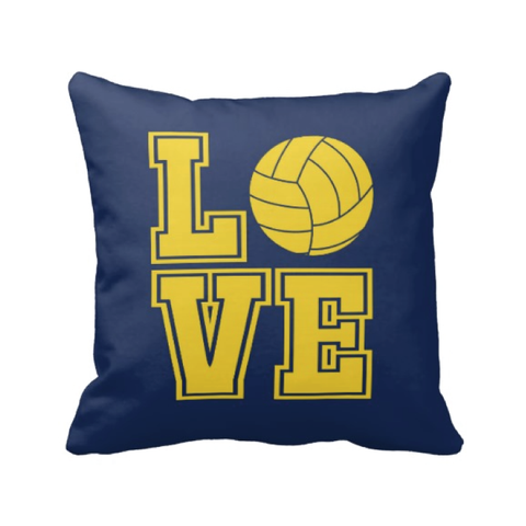 LOVE Volleyball Pillow - Volleyball Player - Sports Team Gift - Navy Blue and Yellow