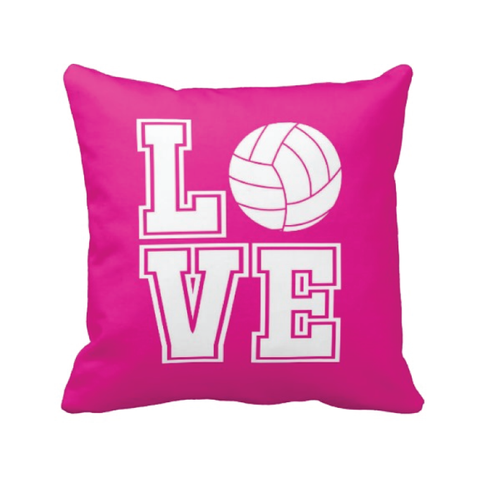 LOVE Volleyball Pillow - Volleyball Player - Sports Team Gift - Hot Pink and White