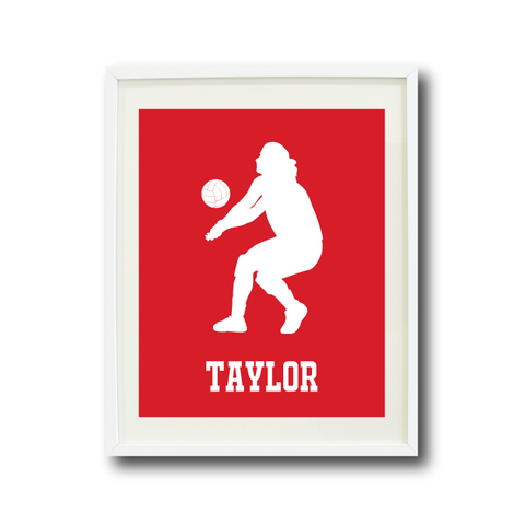 Volleyball Player Wall Art Print - Room Decor - Sports Team Gift - Monogrammed Name - White and Red