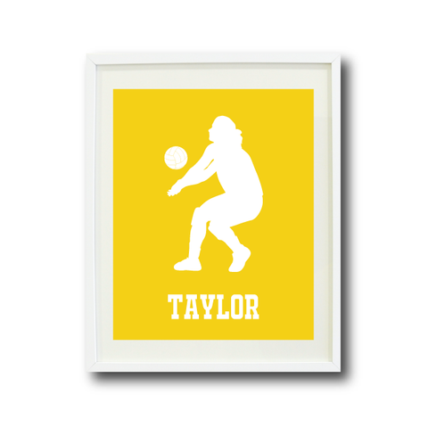 Volleyball Player Wall Art Print - Room Decor - Sports Team Gift - Monogrammed Name - White and Yellow