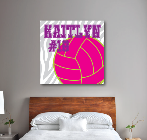 Zebra Print Volleyball Canvas - Monogrammed Name and Jersey Number - Sports Team Gift - Purple, Hot Pink, Lime Green