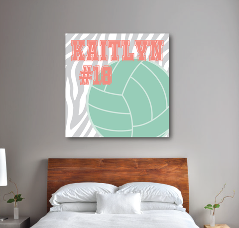 Zebra Print Volleyball Canvas - Monogrammed Name and Jersey Number - Sports Team Gift - Coral, Grey and Grayed Jade