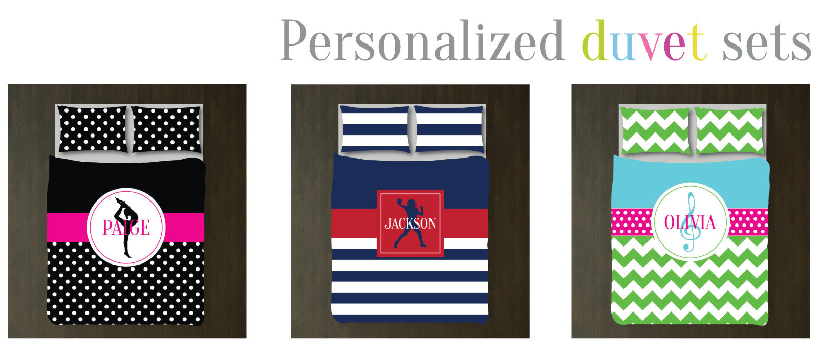 Personalized duvet sets