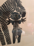 Vintage Abstract African Zebra & Instrument Playing Man B&W Framed Lithograph 140/150