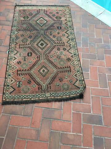 1920's Semi-Antique Caucasian Geometric Diamond Ombre'd Rug