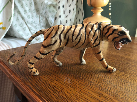 ANTIQUE TIGER W/TAIL STUFFED VICTORIAN CHILDREN'S TOY ORIGINAL FUR & EYES PAINT