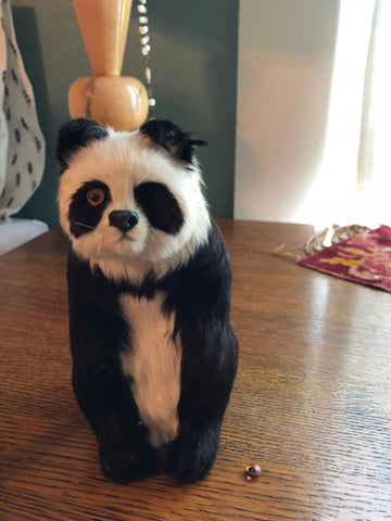 ANTIQUE RARE STUFFED PANDA VICTORIAN CHILDREN'S TOY ORIGINAL FUR & EYES PAINT