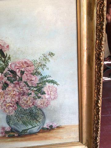 ANTIQUE 1882 VICTORIAN CARNATIONS SUNDAY FLOWER OIL PAINTING W/FERNS VASE LARGE