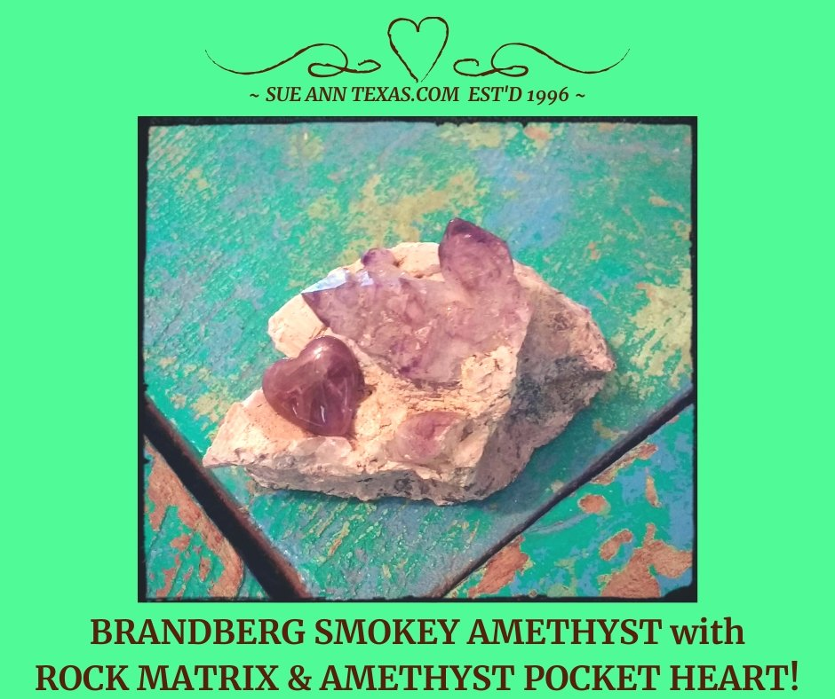 Brandberg Smokey Amethyst & Heart Set! - SueAnnTexas.Com & The Shoppe