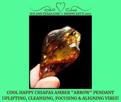 "Chiapas Amber ""Arrow"" Pendant for Uplifting & Motivating Vibes with A Tribal Twist :D - SueAnnTexas.Com & The Shoppe"