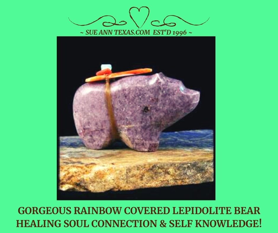 Gorgeous Rainbow Covered Lepidolite Bear! Energies for Soul Connection & Healing via Self Knowledge :D - SueAnnTexas.Com & The Shoppe