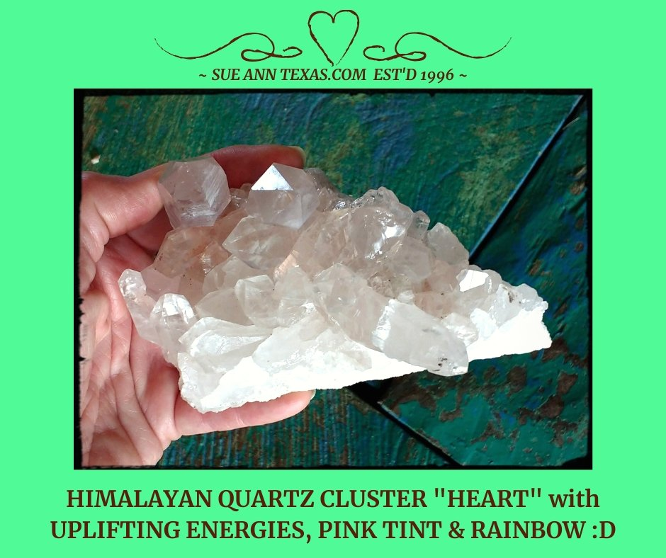 "Himalayan Quartz ""Heart"" with Uplifting Energies, Pink Tint & Rainbow! - SueAnnTexas.Com & The Shoppe"