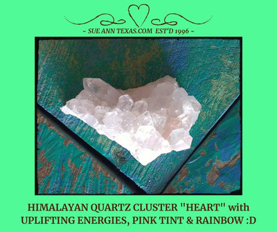 "Himalayan Quartz ""Heart"" with Uplifting Energies, Pink Tint & Rainbow!"