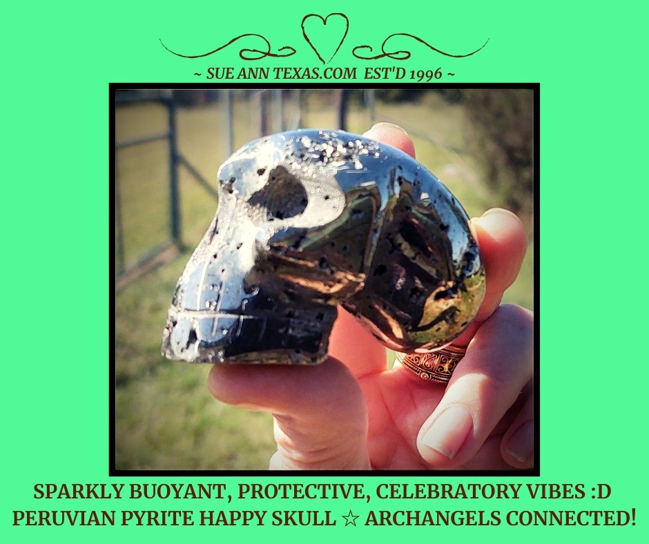 Peruvian Pyrite Happy Skull with Buoyant, Protective & Very Celebratory Vibes!! - SueAnnTexas.Com & The Shoppe
