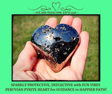 Peruvian Pyrite Heart. Highly Polished & Protective. Small Sparkly Open Spaces Exploding with Fun Vibes!