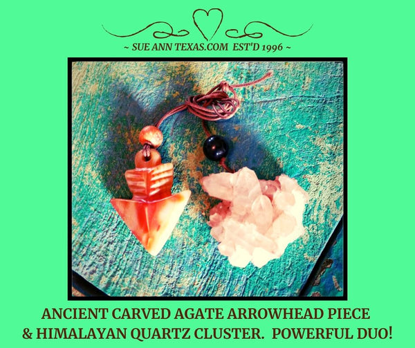 "Rare Ancient Agate Arrowhead & Himalayan Quartz Cluster. Vibes for Being ""The Calm Warrior of Light"" & Hitting Your Mark! Makes a Helpful Energy Vortex, Yep!! Dated 3,500-2,200 B.C. - SueAnnTexas.Com & The Shoppe"