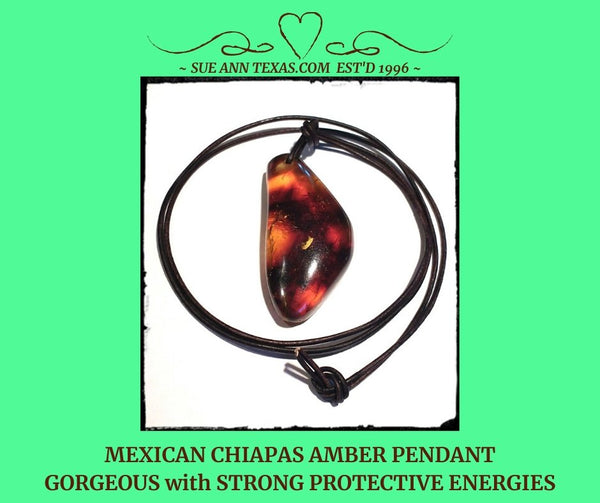 SOLD: Chiapas Amber Pendant. Gorgeous & Strong Energies with Jaguar Spirit. - SueAnnTexas.Com & The Shoppe