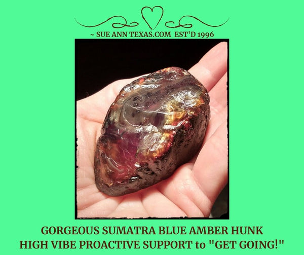SOLD: Sumatra Blue Amber Piece: Beautiful Hunk of Support!! - SueAnnTexas.Com & The Shoppe