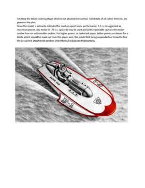 "Digital full size plans on Cd Scale 1:10 Hydroplane ""ALTER EGO"" suitable for radio control"