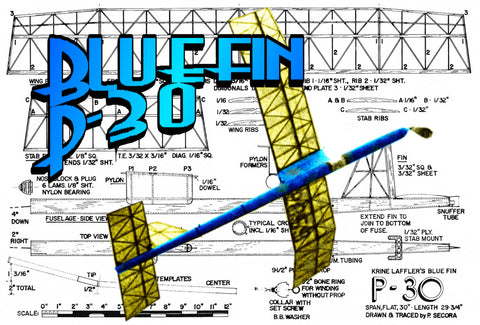Full Size printed Freeflight Model airplane plan for Bluefin P-30