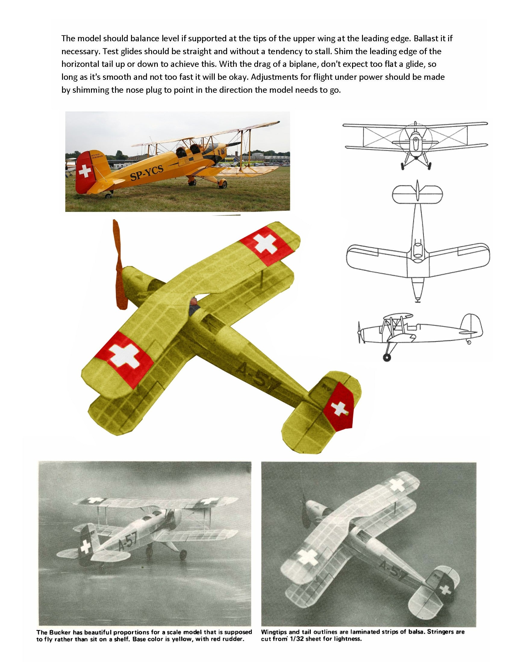 Full Size Printed Peanut Scale Plans BUCKER JUNGMANN  the famous German primary trainer