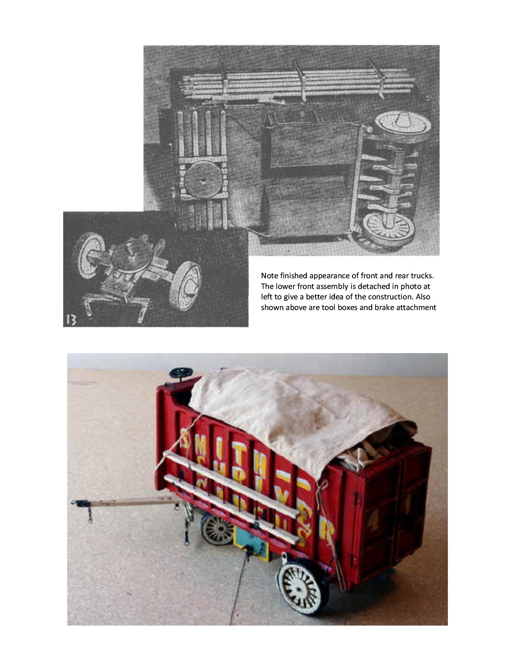 "Full Size Printed Plans CANVAS WAGON Scale ¾ in To 1 ft  Length 13 3/4 ""  Width 6 7/8"