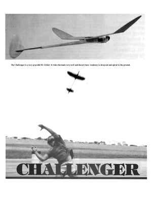 "Full Size Printed Plan Outdoor Hand Launch Glider Wingspan 18"" CHALLENGER"