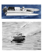 "Full size printed plan 3.5cc (.21) Outboard Length 26"" Tunnel Hull EXCALIBER II for Radio Control"