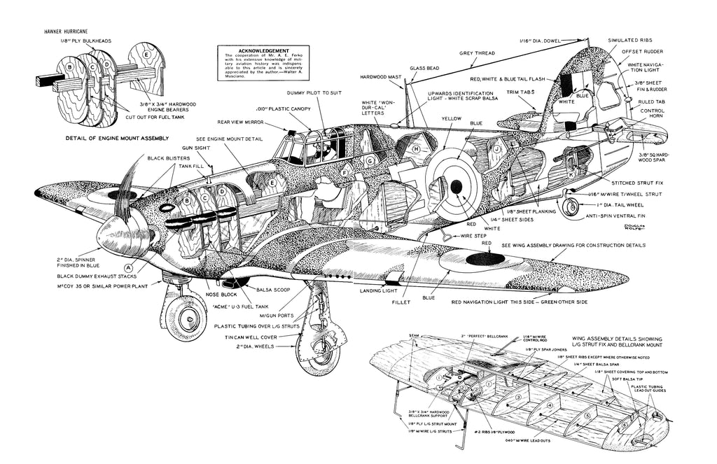 """Full Size Printed Plans Control Line Scale 1""""= 1' Wingspan"""