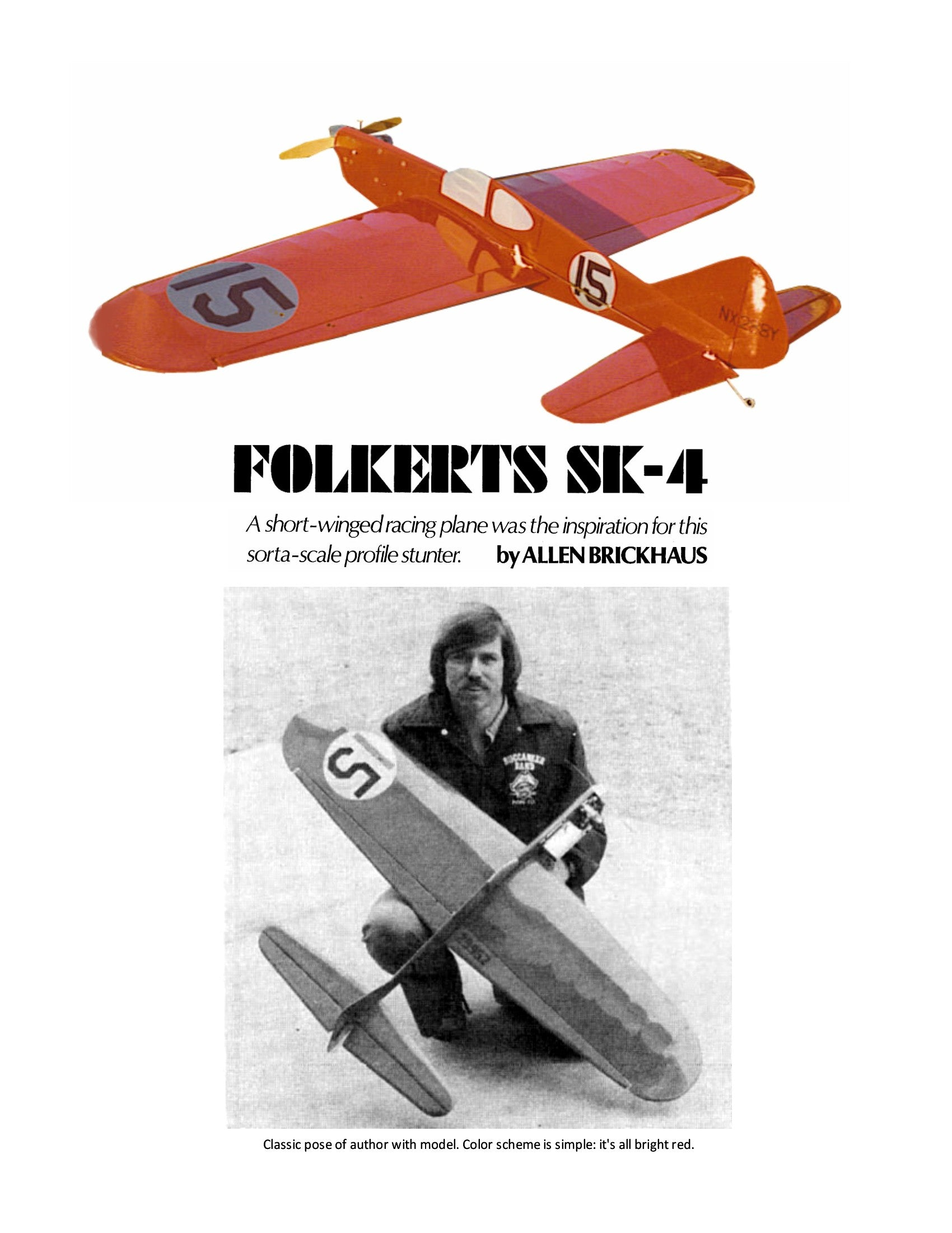 Full Size Plans 1979 Vintage sorta-scale profile stunter. FOLKERTS SK-4  pattern with no problem
