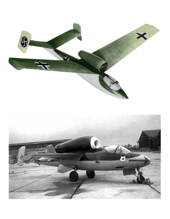 Full Size Printed Plan Semi-Scale 1:8 & 1:16 Heinkel 162  Jetex 150 , 50 or convert to Ducted Fan n