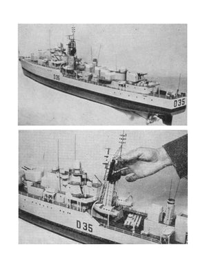 Full Size Printed Plan & Article Scale 1:96 Daring Class Destroyer for Radio Control