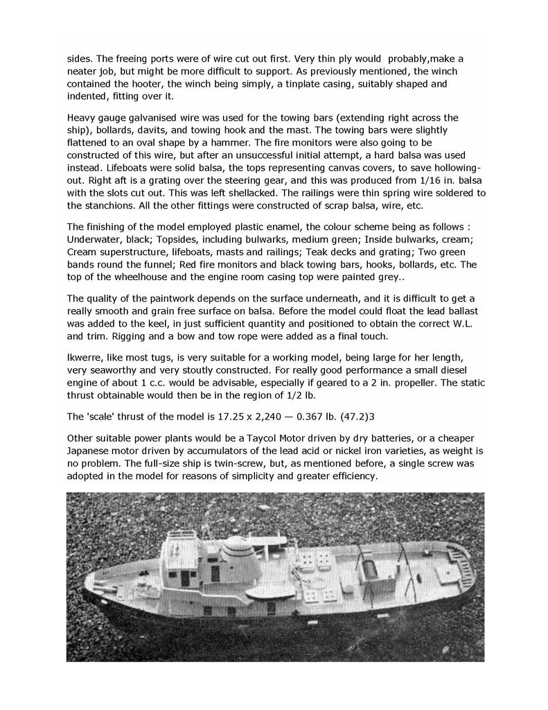Full size Printed Plans Scale 1/47 2  Thornycroft fire boat tug Suitable  for Radio Control