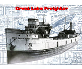 "Great Lakes Freighter 1:10 Scale 45"" Full Size Printed Plans for Radio Control"