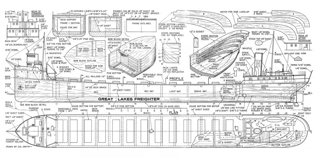 "Great Lakes Freighter 1:10 Scale 45"" Full Size Printed Plans for Radio – Vintage Model Plans"